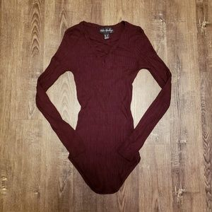 RIBBED KNIT LONG SLEEVE CRISS CROSS SWEATER TOP M